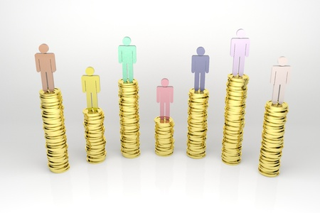 3d render illustration of several stacks of gold coins with human figures on top of them. Stock Illustration - 17125273