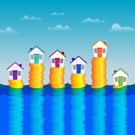 illustration of several houses supported by stacks of gold coins so they wont drown. Ilustração