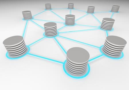 3D render illustratie van abstracte netwerk databases onderling verbonden met elkaar.