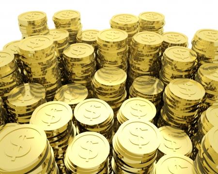 3D render illustratie van veel goud dollar munten.