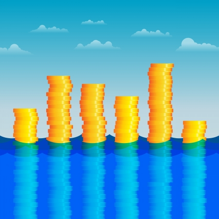 Vector illustration of stacks of gold coins in the water. Vector