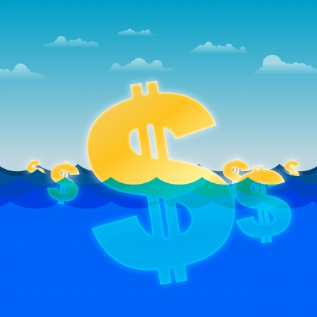 Vector illustration of gold dollar signs drifting on the ocean water. Vector