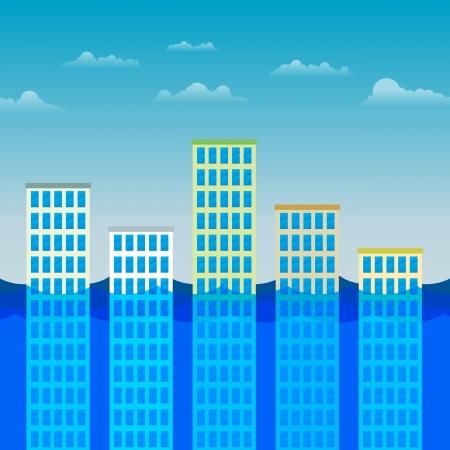 sumergido: Ilustraci�n vectorial de varios edificios de oficinas parcialmente sumergida por el agua.