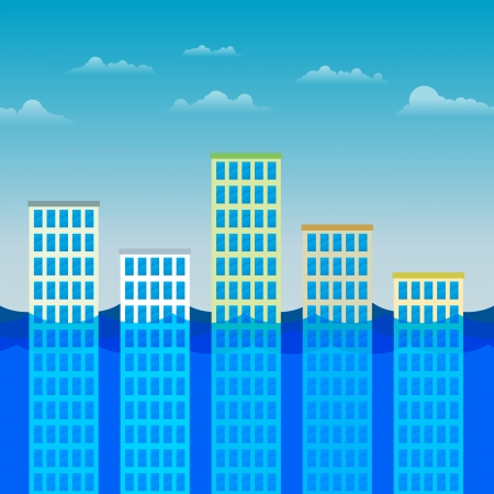 submerged: Vector illustration of several office buildings partially submerged by water. Illustration