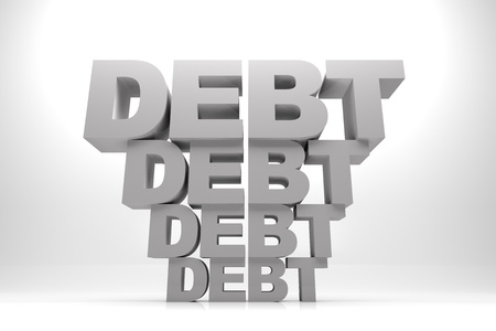 3d render illustration of words of debt in stack one after another. Stock Illustration - 17201150
