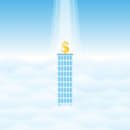 illustration of a lone business tower with a golden dollar symbol on top of it, with rays of light from heaven  Stock Vector - 17311763