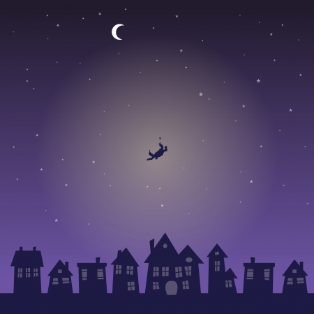 illustration of a silhouette of a man falling from the sky in the middle of the night
