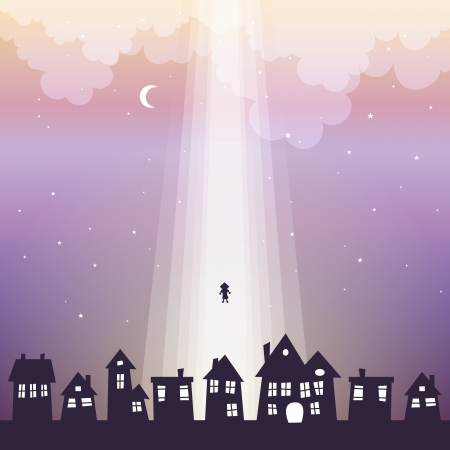 Vectpr illustration of a silhouette of a child lifted up to heaven