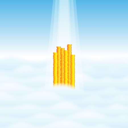 illustration of heaps of gold coins towering through the highest of clouds, with rays of light shining upon them Stock Vector - 17311767