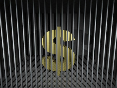 3d render illustration of an imprisoned dollar symbol. Stock Illustration - 17311766