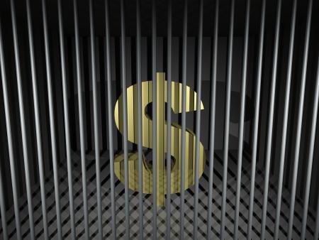 prison bars: 3d render illustration of an imprisoned dollar symbol.