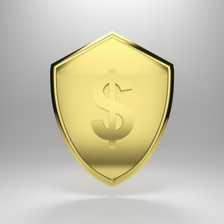 3d render illustration of a golden dollar shield. illustration