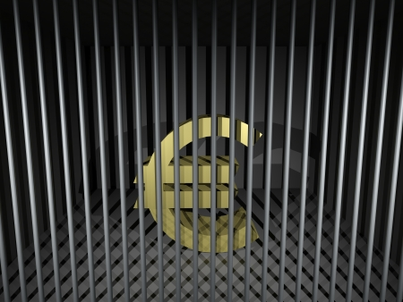 3d render illustration of an imprisoned euro symbol. Stock Illustration - 17311764