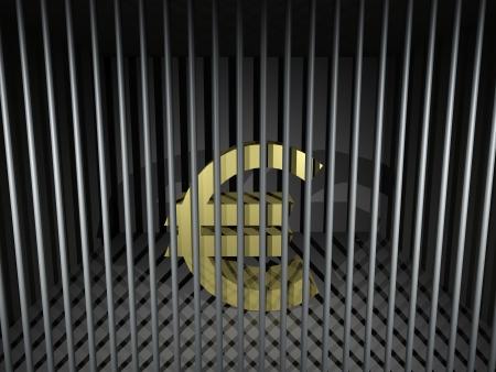 prison bars: 3d render illustration of an imprisoned euro symbol.