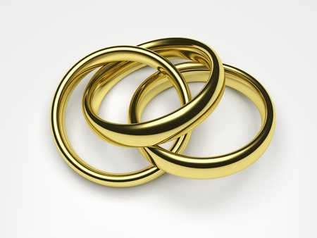3d render illustration of a gold ring attached to two rings. Stock Illustration - 17311769