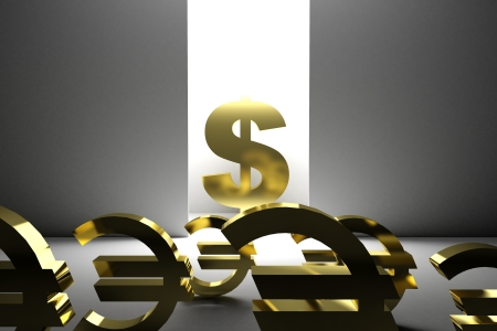 rescue signs: 3d render illustration of a dollar symbol rescuing several euro symbols.