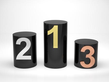 primer lugar: 3d hacer ilustración de podio ganadores. Hecho negro para contrastar con el fondo. Foto de archivo