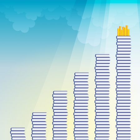 illustration of stacks of books with heaps of gold coins on the highest stack. Stock Vector - 17338102