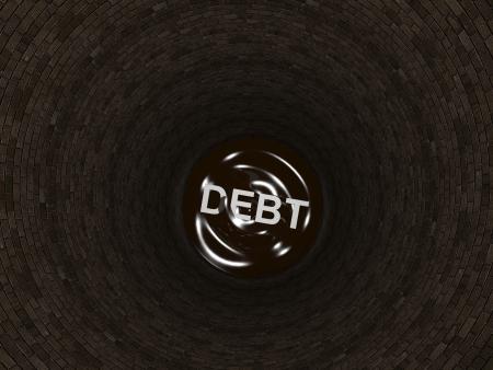 wasted: 3d render illustration of word debt inside a deep pit.
