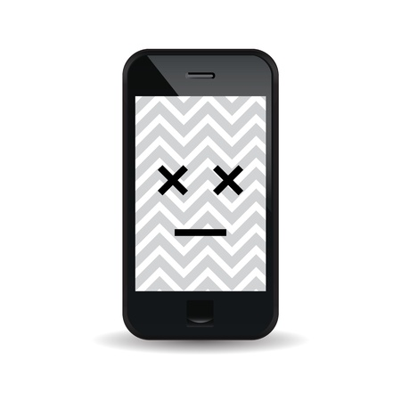 hack: illustration of a malfunctioned smartphone. Illustration
