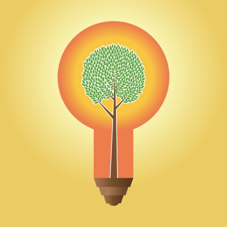 small lamp: illustration of an abstract tree inside a large lightbulb.