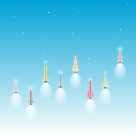 booster: illustration of several rockets (with base of lightbulbs as propulsions) launching up to space.