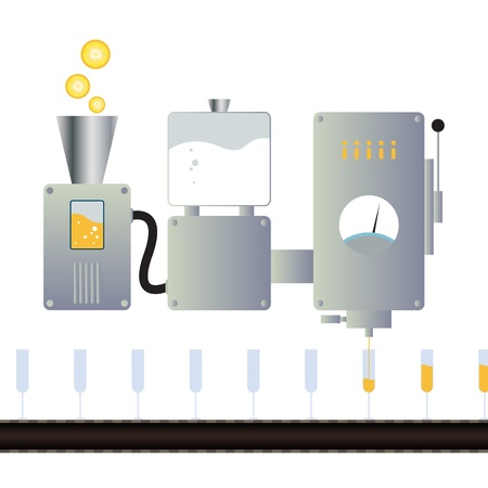 asamblea: ilustración de un jugo que hace la máquina con la línea de montaje. Vectores