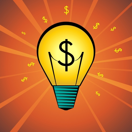 illustration of a cartoon lightbulb with dollar symbol inside it. Vector