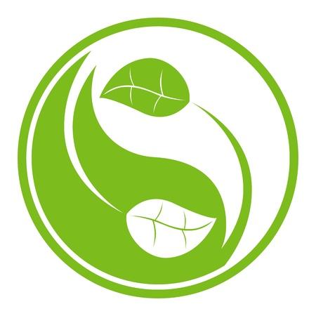 illustration of natural themed yin yang symbol. Stock Illustratie