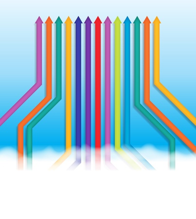 group direction: abstract illustration of colorful lines going into the same one direction. Illustration