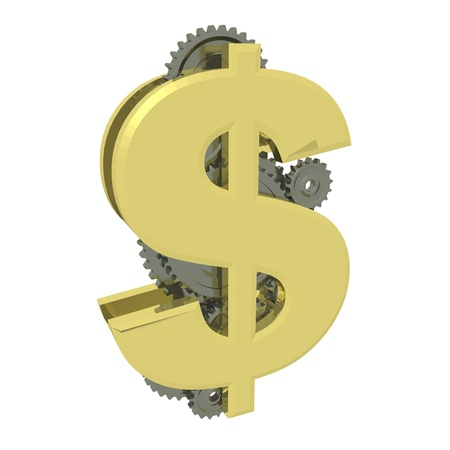 3d render illustration of golden dollar symbol with gears working within. Stock Illustration - 17882049