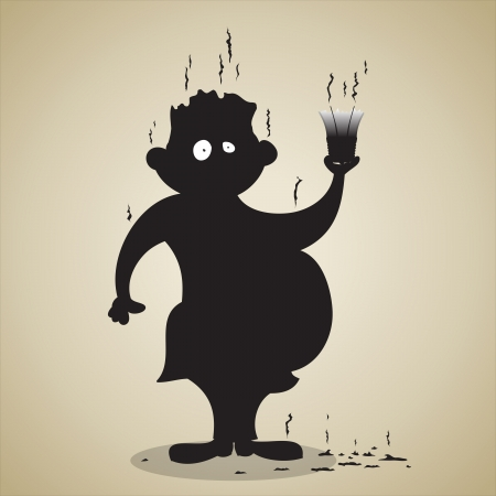 Vector illustration of an unlucky guy holding an exploded light bulb.  Vector