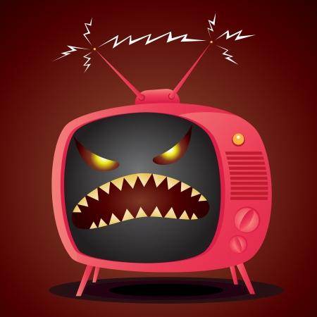 Vector illustratie van cartoon televisie met een kwade demonische gezicht.