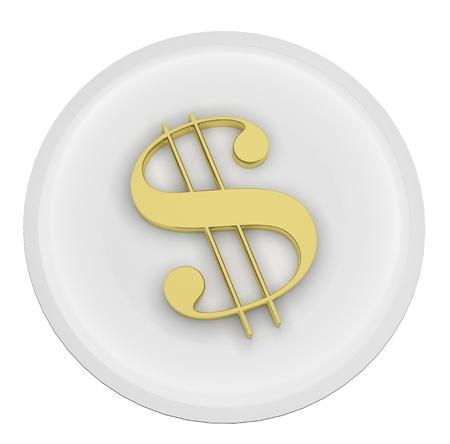 3d render illustration of a gold dollar symbol on a plate Stock Illustration - 17882249