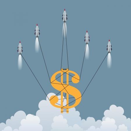 Vector illustration of a big dollar symbol lifted up by several rockets  Ilustração