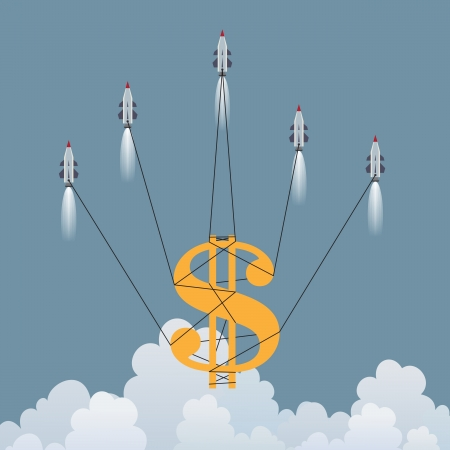 currency symbol: Vector illustration of a big dollar symbol lifted up by several rockets  Illustration