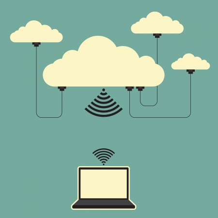 interconnection: Vector illustration of several connected online cloud storages and a laptop