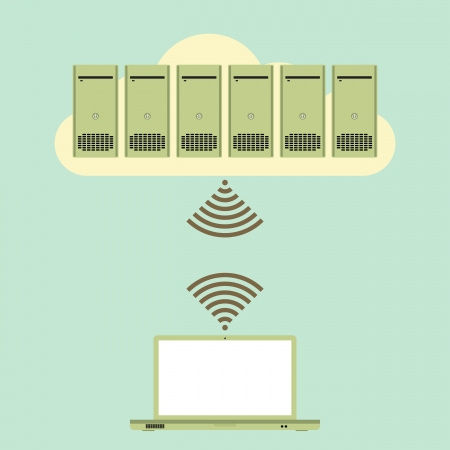 wirelessly: Vector illustration of several servers on an online cloud connected to a laptop wirelessly