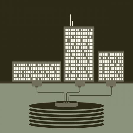 shared sharing: Vector illustration of three buldings using the same database center