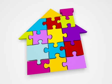 model houses: 3d render illustration of colorful house jigsaw puzzle. Stock Photo