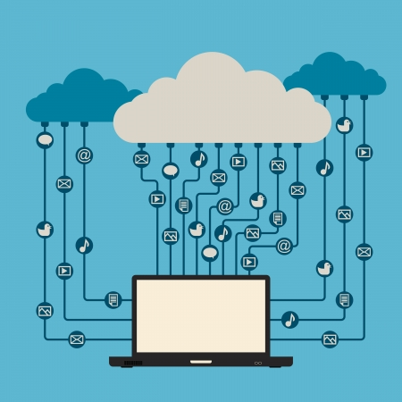 illustration of a laptop having access to all kinds of media from cloud networks. Vector