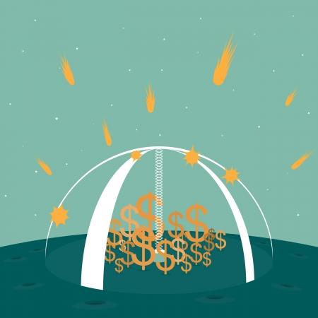 science fiction: illustratie van dollar symbolen beschermd door een sterke schild vallen meteoren in een science fiction setting. Stock Illustratie