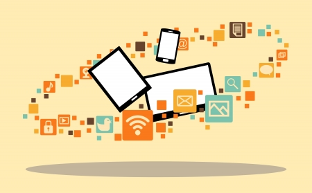 illustration of several multimedia devices surrounded with app icons. Illustration