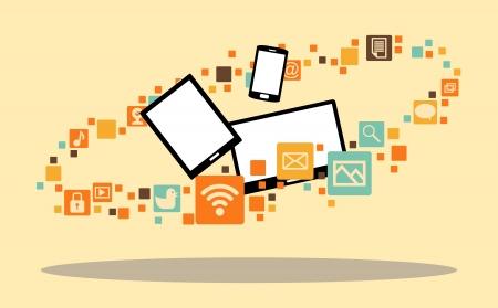 surrounded: illustrazione di diversi dispositivi multimediali circondate con icone di app.