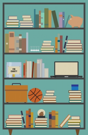 study room:  illustration of a retro themed bookshelf with several contents.