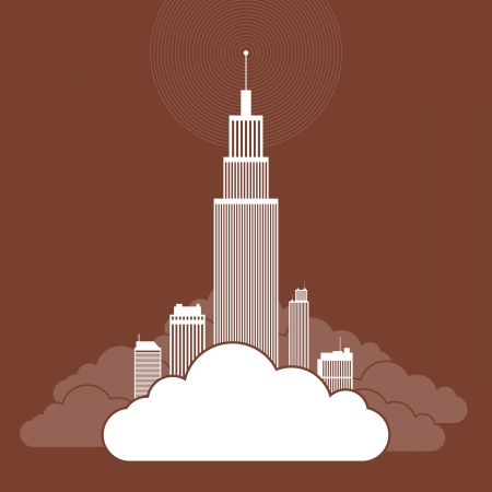 Vector abstract illustration of several buildings on a cloud, illustrating companies using cloud network for their businesses  Vector