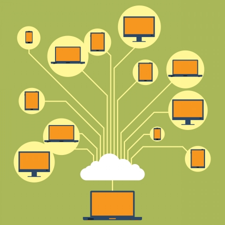 Vector illustration of several computing devices connected and share each other on a cloud network  Vector
