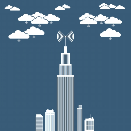 Vector illustration of an office tower building using several cloud network for its businesses  Vector