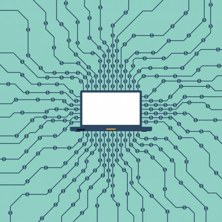Vector illustratie van een laptop het verwerven van dollars online