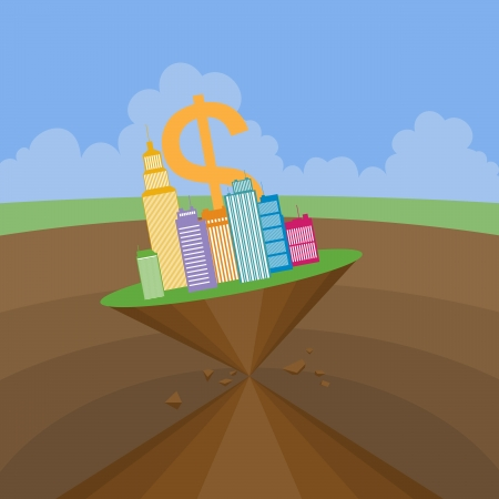 Vector illustration of a city with dollar symbol on a very dangerous part of ground and about to flip over  Stock Vector - 18235637